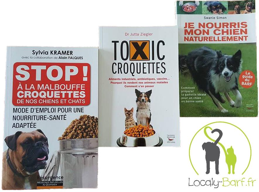 """Stop ! à la malbouffe - Croquettes de nos chiens et chats"""" - Sylvia Kramer - """"Toxic Croquettes"""" - Dr Jutta Ziegler - """"Je nourris mon chien naturellement"""" - Swanie Simon"""